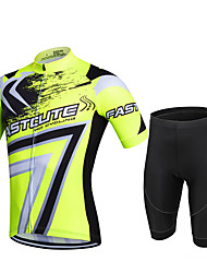 cheap -21Grams Men's Short Sleeve Cycling Jersey with Shorts Red Army Green Blue Plus Size Bike Shorts Quick Dry Breathable Sports Geometic Mountain Bike MTB Road Bike Cycling Clothing Apparel / Stretchy