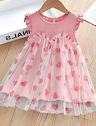 cheap -Kids Toddler Little Girls' Dress Sundress Heart Tulle Dress Party Festival Mesh Patchwork Blushing Pink Above Knee Sleeveless Regular Dresses Children's Day Summer Regular Fit 3-8 Years