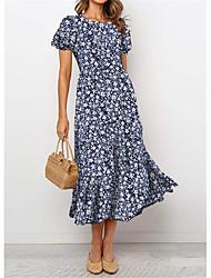 cheap -Women's Swing Dress Midi Dress Navy Blue Short Sleeve Floral Flower Vintage Style Print Spring Summer Round Neck Vintage Style Elegant Holiday 2021 S M L XL XXL / Satin