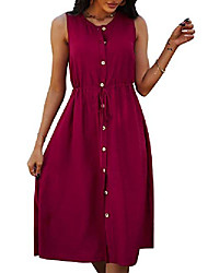 cheap -fz fantastic zone women casual summer dress sleeveless button down swing midi dresses with drawstring red