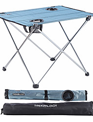 cheap -Camping Table with Cup Holder Portable Ultra Light (UL) Foldable Washable Oxford Cloth Aluminum Alloy for 3 - 4 person Camping Outdoor Picnic Spring Summer Blue+Silver