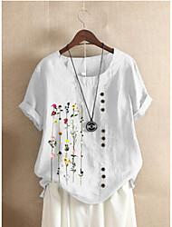 cheap -Women's Plus Size Tops Blouse Shirt Floral Graphic Short Sleeve Round Neck Spring Summer White Blue Green Big Size XL XXL XXXL 4XL 5XL