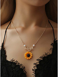 cheap -Women's Pendant Necklace Necklace Leaf Sunflower Fashion European Resin Alloy Gold 50 cm Necklace Jewelry 1pc For Beach