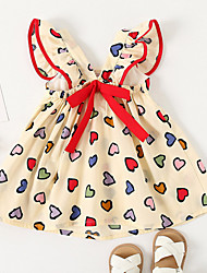 cheap -Kids Little Girls' Dress Heart Causal Festival Print As Picture Knee-length Sleeveless Cute Dresses Children's Day Summer Regular Fit 1-5 Years