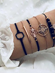 cheap -totem black hexagonal bracelet five-piece diamond love beaded set