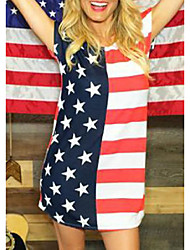 cheap -wish amazon ins hot style american flag day star striped flag print dress