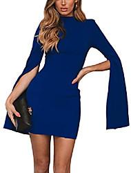 cheap -sexy dresses for women bodycon backless split sleeve dress (s, blue)