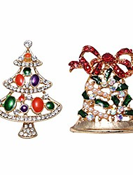 cheap -selovo bell christmas tree crystal rhinestone brooch pin scarf accessory gold tone
