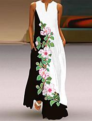 cheap -2021 spring and summer new cross-border amazon casual v-neck long skirt digital print sexy dress large swing skirt