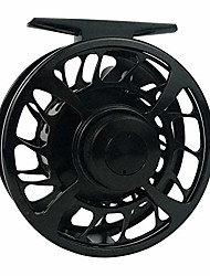 cheap -z aventik 3/4, 5/6 fly fishing reel aluminum alloy body fly reel sale carbon disc drag with fine control of double click stop freshwater reel fly reel cover (black, 3/4)