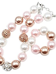 cheap -silver alloy rhineatone pink&champagne gold pearl beads baby chunky bubblegm girl necklace bracelet set for kids birthday gifts (child size 18 inch)