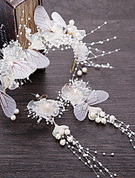 cheap -Wedding Bridal Fabric Headbands / Headdress / Headpiece with Imitation Pearl / Metal 2pcs / 1 set Wedding / Party / Evening Headpiece