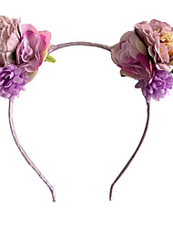 cheap -2021 european and american hot-selling new artificial flower headband ins cat ear headwear travel vacation photo wreath hair accessories