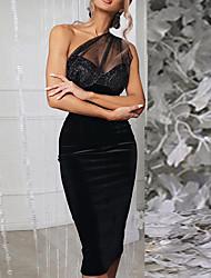 cheap -european and american women's dress 2021 cross-border aliexpress sexy one-shoulder perspective bright silk stitching bag hip dress