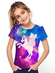 cheap -Kids Girls' Tee Short Sleeve Unicorn Graphic Rainbow Children Tops Active Cute 3-12 Years