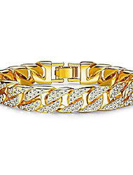 cheap -finrezio mens womens chain hiphop curb bracelet cuban silver gold plated bracelet with clear rhinestones 9 inch gold tone