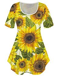 cheap -Women's Plus Size Tops T shirt Print Graphic Sunflower Large Size Crewneck Short Sleeve Basic Big Size XL XXL 3XL 4XL 5XL Black