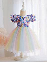 cheap -Kids Little Girls' Dress Color Block Beaded Bow Purple Blushing Pink Green Knee-length Short Sleeve Active Dresses Summer Regular Fit 2-6 Years