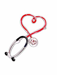 cheap -xuner nurse stethoscope pins cuterus heart-shaped pins lapel pin personality medicine brooch medical jewelry for women nurse/doctor/student/ladies accessories gifts hat lapel pins (silver)