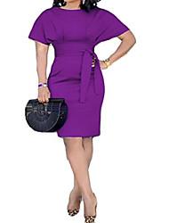 cheap -wawaya womens solid color belted short sleeve fashion work office party midi dress purple xxs