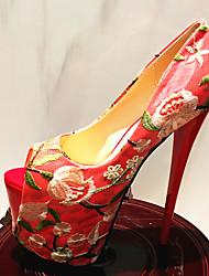 cheap -Women's Heels Stiletto Heel Peep Toe Lace PU Almond Red