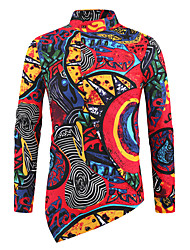 cheap -Men's Shirt Graphic Long Sleeve Daily Tops Red / Stand Collar