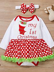 cheap -Baby Girls' Basic Polka Dot Letter Print Long Sleeve Dress White