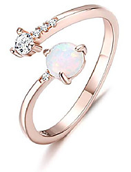 cheap -925 sterling silver opal rings for women 14k gold plated adjustable open band with cubic zirconia stacking mid finger rings october birthstone jewelry