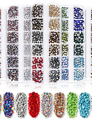 cheap -12 Grids Nail Decoration High Silver Flat-bottom Diamond Nail Art AB Rhinestone Nail Decoration Shiny Glass Diamond Long Strip Box