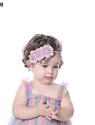 cheap -amazon creative multicolor splicing mesh fabric art flower children's thin hairband super soft stretch nylon baby hair accessories