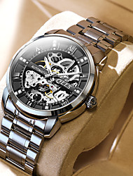 cheap -men's mechanical watches automatic fashion hollow stainless steel band fashion luminous