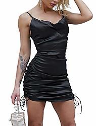 cheap -women 's satin silk spaghetti strap camisole dresses backless square neck ruched satin mini dress clubwear (black, l)