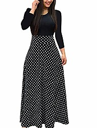 cheap -Women's A Line Dress Maxi long Dress Black And White Color bar Dots Leaf flower Red Blushing Pink Green Long Sleeve Flower Summer Casual Cotton 2021 S M L XL XXL XXXL 4XL 5XL