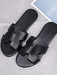 cheap -Women's Flats Flat Heel Open Toe PU Solid Colored Black Brown Silver