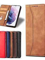 cheap -Phone Case For Samsung Galaxy Full Body Case Leather S21 S21 Plus S21 Ultra Galaxy A52 Galaxy A42 Galaxy A02 Wallet Card Holder Shockproof Solid Color PU Leather
