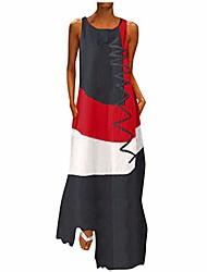cheap -Women's A Line Dress Maxi long Dress khaki White Red Dark Blue Sleeveless Pattern Spring & Summer Casual 2021 S M L XL XXL XXXL 4XL 5XL