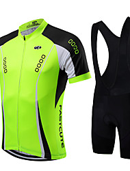 cheap -21Grams Men's Short Sleeve Cycling Jersey with Bib Shorts Yellow Red Light Green Bike Quick Dry Breathable Sports Mountain Bike MTB Road Bike Cycling Clothing Apparel / High Elasticity / Advanced