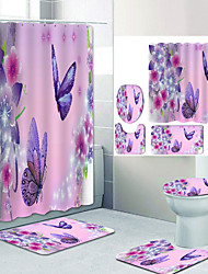 cheap -Purple butterfly flowers Digital Printing Four-piece Set Shower Curtains and Hooks Modern Polyester Machine Made Waterproof Bathroom