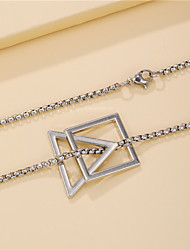cheap -simple geometric triangle square necklace female titanium steel stainless steel necklace hip-hop accessories