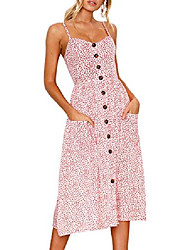 cheap -begonia.k women's dresses summer floral print backless spaghetti strap button down midi dress with pockets (pink, small)