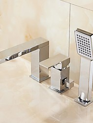 cheap -Bathtub Faucet - Contemporary Chrome Free Standing Ceramic Valve Bath Shower Mixer Taps