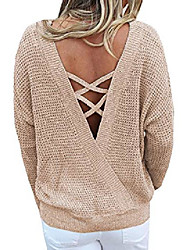cheap -beyove backless sweater for women long sleeve oversized pullover sweater knit jumper loose tunic tops khaki m