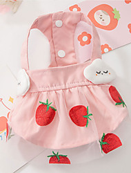 cheap -Dog Cat Dress Strawberry Fruit Elegant Adorable Cute Casual / Daily Dog Clothes Puppy Clothes Dog Outfits Breathable Pink Costume for Girl and Boy Dog Cotton Fabric XS S M L XL XXL