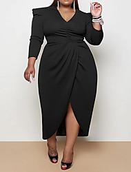 cheap -Women's Plus Size Dress Sheath Dress Midi Dress Long Sleeve Solid Color Sexy Spring &  Fall