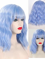 """cheap -light blue wavy wig with air bangs women's short bob pastel blue wig curly wavy shoulder length pastel bob synthetic cosplay wig for girl colorful costume wigs (14"""", ice blue)"""