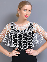 cheap -Short Sleeve Elegant / Bridal Polyester Wedding / Party / Evening Shawl & Wrap / Women's Wrap With Beading / Split Joint / Solid