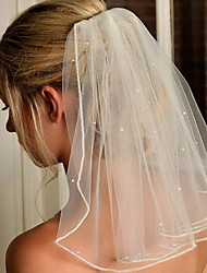 cheap -One-tier Cute Wedding Veil Elbow Veils with Solid 23.62 in (60cm) Lace / Tulle