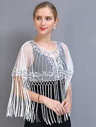 cheap -Short Sleeve Elegant / Sweet Tulle / Sequined Wedding / Party / Evening Shawl & Wrap / Women's Wrap With Beading / Tassel / Split Joint