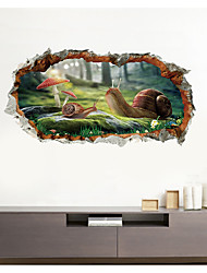 cheap -3D Broken Wall Snail Home Background Decoration Can Be Removed Stickers PVC Creativity
