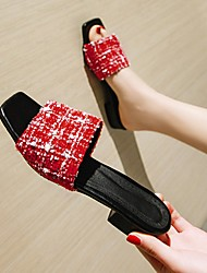cheap -Women's Flats Block Heel Open Toe Canvas Elastic Fabric Braided Black Red Gray